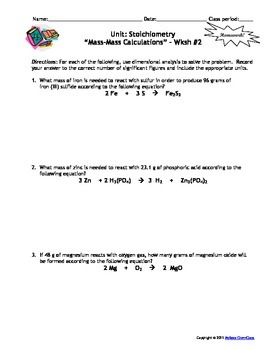 Homework Worksheets Stoichiometry Set Of 7 Answers Included