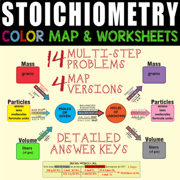 Stoichiometry Map & 2 Worksheets BUNDLE ~GREAT LEARNING TOOL~ Chemistry