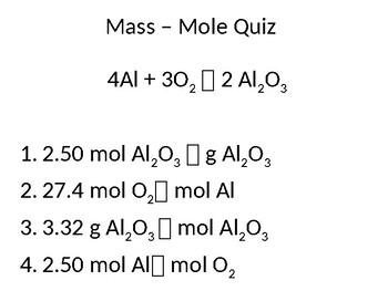 Stoichiometry Mass-Mole Quiz