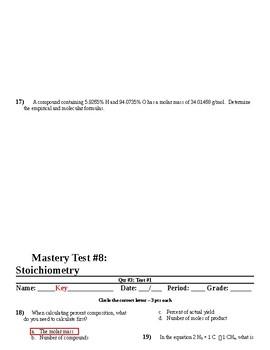 Stoichiometry - Master Test