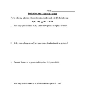 Practice: Stoichiometry Mixed Calculations - Long