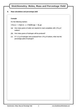 Stoichiometry - Moles, Mass and Percentage Yield