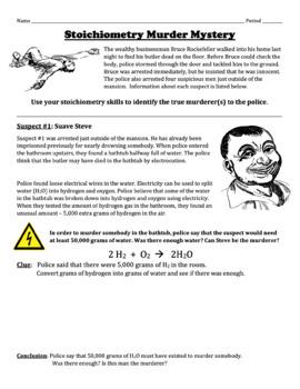 Stoichiometry Murder Mystery Project