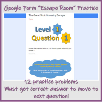 Stoichiometry Notes and Digital Escape Room Practice - Complete Lesson w/Quiz