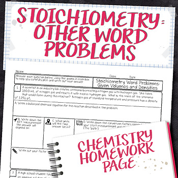 Stoichiometry Other Word Problems Chemistry Homework Worksheet