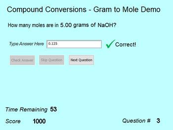 Stoichiometry Practice - Compound Conversions Gram to Mole Activity (Demo)