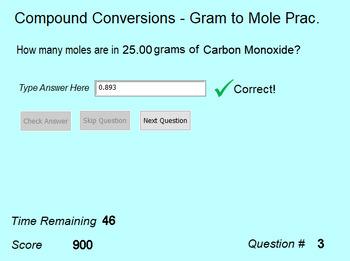 Stoichiometry Practice - Compound Conversions Gram to Mole Activity Full Version