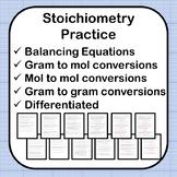 Stoichiometry Practice Worksheet w/ Answer Key 2 Versions