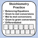 Stoichiometry Practice - 4 Worksheets - 2 Differentiated V