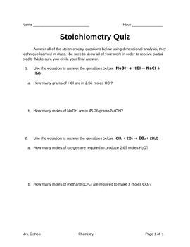 Stoichiometry Quiz
