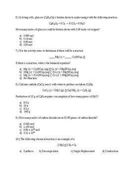 Stoichiometry Assessment