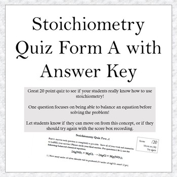 Stoichiometry Quiz A