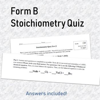 Stoichiometry Quiz B
