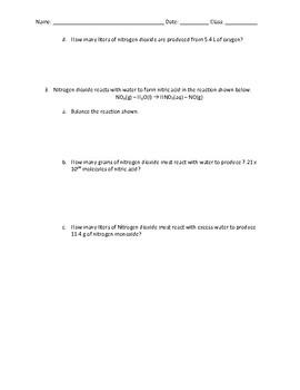 Stoichiometry Quiz with Key
