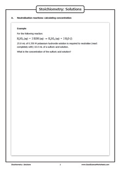 Stoichiometry - Solutions