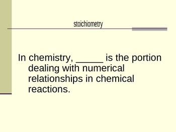 Stoichiometry Vocabulary Powerpoint