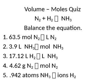 Stoichiometry Volume-Moles Quiz