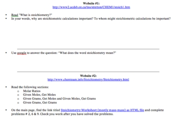 Stoichiometry Web Quest Tutorial