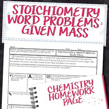Stoichiometry Word Problems Given Mass Chemistry Homework Worksheet