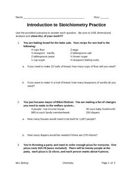 stoichiometry worksheet - Stoichiometry Worksheet