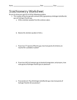 Stoichiometry Worksheet with Key by Techno Teacher Store | TpT