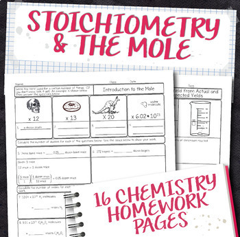 Stoichiometry teaching resources teachers pay teachers stoichiometry and the mole chemistry homework page unit bundle fandeluxe Gallery