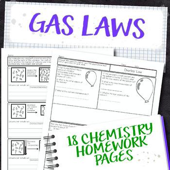 Gas Laws Chemistry Homework Page Unit Bundle