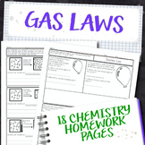 Gas Laws Chemistry Homework Page Unit Bundle
