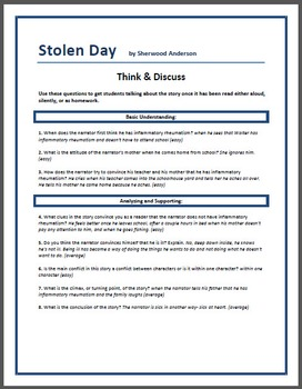 """""""Stolen Day"""" - Think & Discuss questions"""