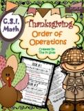 Thanksgiving CSI Math Review (ORDER OF OPERATIONS) {NO PREP