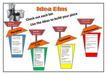 Stomp Idea Bins Sheet (Can be used with the Stomp Rubric)