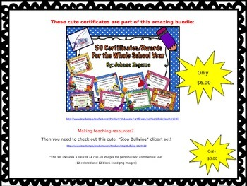 Stomp Out Bullying Certificates