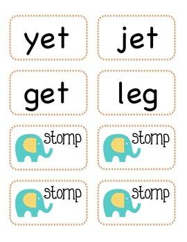 Stomp with short e cvc words