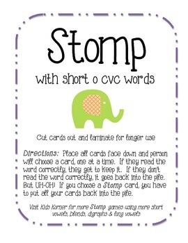 Stomp with short o cvc words