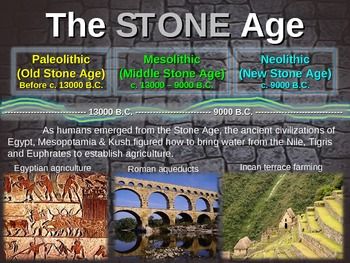 Stone Age (PARTS 1 & 2) Hunting Agriculture Adaptations etc engaging 50slide PPT