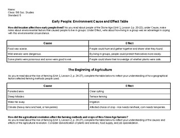 Stone Age People Cause and Effect Table- Unit 1 of McGraw-Hill Grade 6 The World
