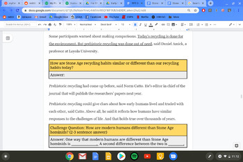 Stone Age Recycling: Differentiated Reading Assignment