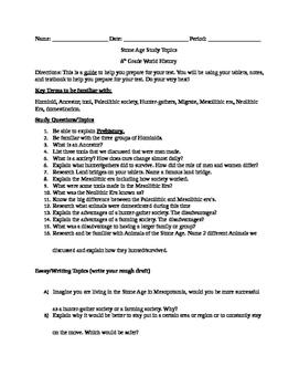 Stone Age Study Guide