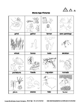 Stone Age Unit in Pictures for  Special Ed., ELL and ESL Students