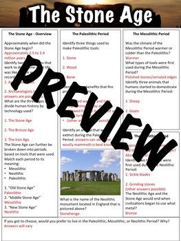 Stone Age Worksheet