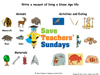 Stone Age life recount Lesson plan, Picture prompts and Writing frame