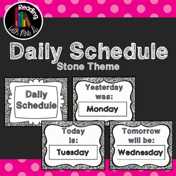 Stone Daily Schedule Posters for Days of the Week: Yesterday, Today, Tomorrow