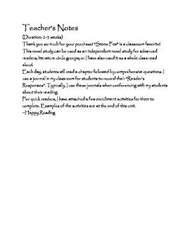 Stone Fox ~ A Novel Study Unit for Reader's Workshop