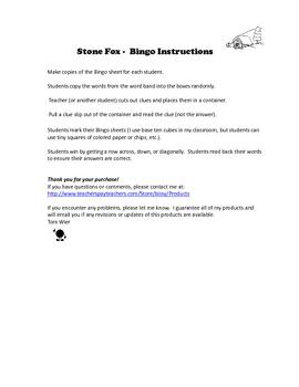 Stone Fox Bingo Reading Comprehension Vocabulary Game