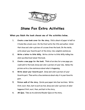 Stone Fox By John Reynolds Gardiner Comprehension Packet