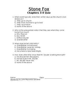 Stone Fox Chapter 1-9 Quizzes