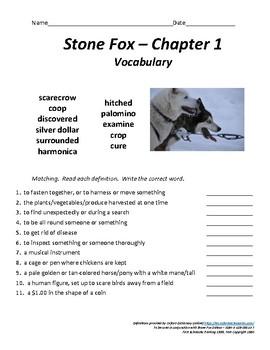 Stone Fox - Chapter 1 Vocabulary / Test