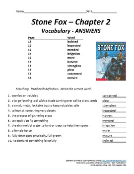 Stone Fox - Chapter 2 Vocabulary / Test