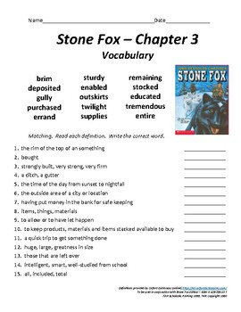 Stone Fox - Chapter 3 Vocabulary / Test