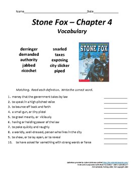 Stone Fox - Chapter 4 Vocabulary / Test